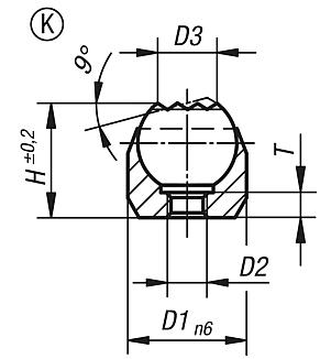 Self-aligning pads, Form K, press fit, flattened ball, with carbide insert