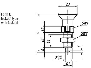 Indexing plungers, stainless steel, Form D