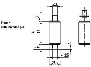 Indexing plungers without collar, Form N