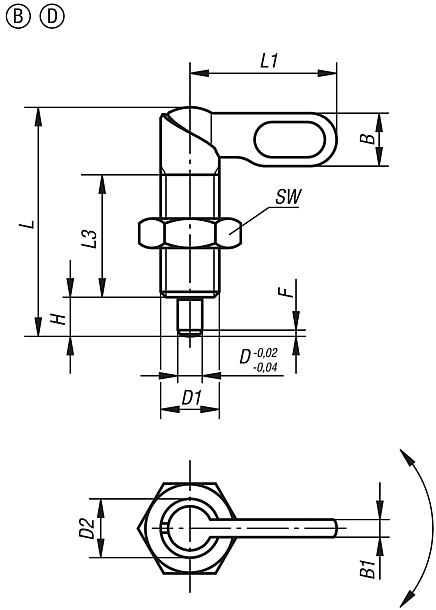 Indexing plungers with grip, Form B and D