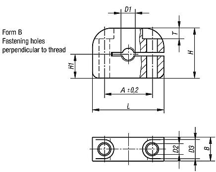 Mounting bracket aluminium Form B