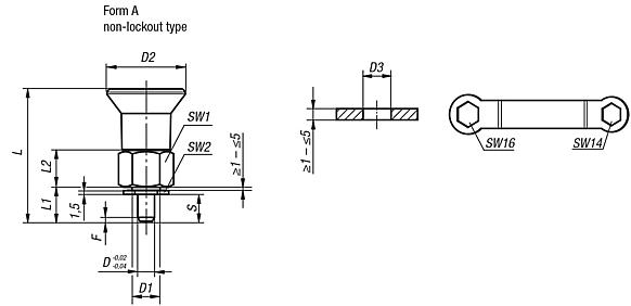 Indexing plungers for thin-walled parts Form A