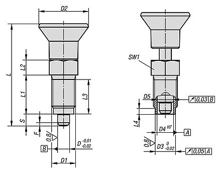 Indexing plungers - Premiumwith cylindrical pin