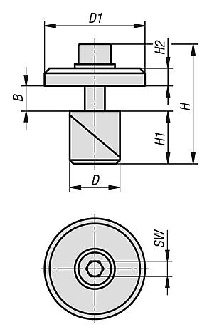 Clamping pin, steel or stainless steel with washer