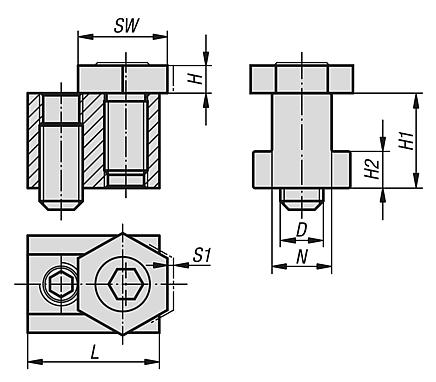 Cam screw with hexagon washer for T-slots Drawing 1