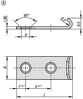 Catch plates Form A for DIN 3133 latches