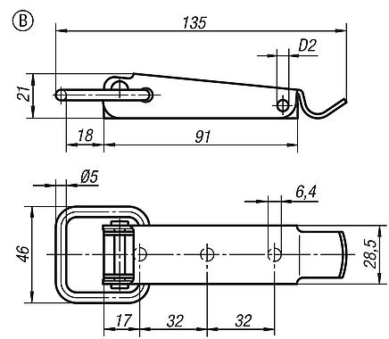 Latches with draw bail, Form B