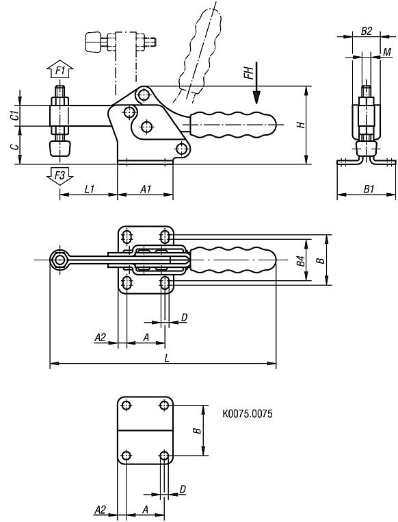Toggle clamps horizontal with flat foot and fixed clamping spindle