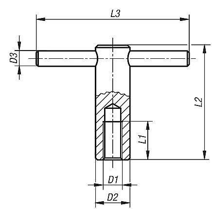 Tommy bars with fixed spindle, DIN 6305