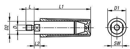 Cylindrical grips revolving with male thread