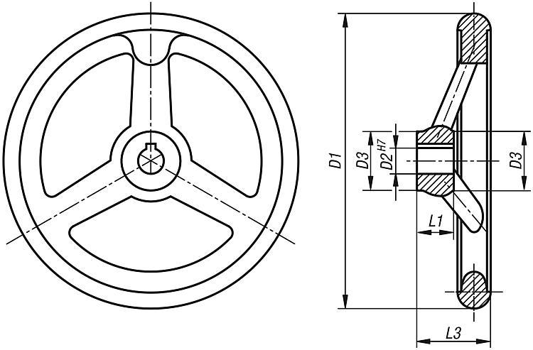 D1/= 315 Flip Complete: Steel Hand Cast Iron Wheel with Nut//D2/ /26 k0671.3315x26 1/Piece