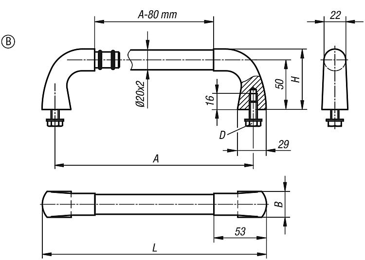 KIPP - Tubular handles stainless steel, Form B