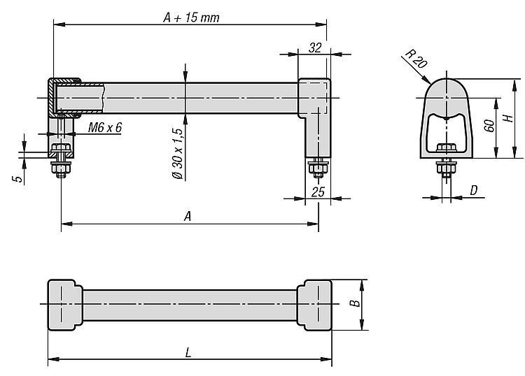KIPP - Tubular handles stainless steel