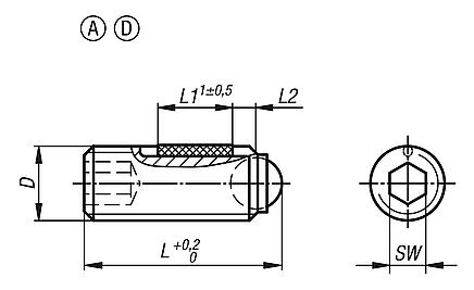 Ball-end thrust screws without headwith full ball, LONG-LOK secured
