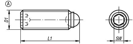 Ball pressure screws without head