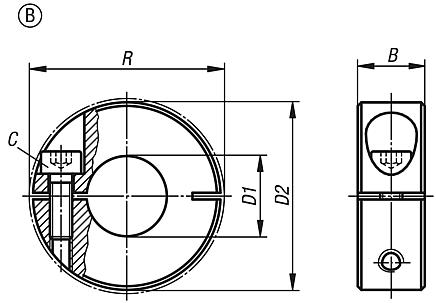 shaft collars one-piece, Form B