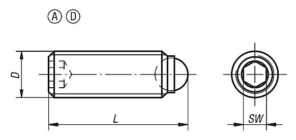 Ball-end thrust screws without headwith full ball