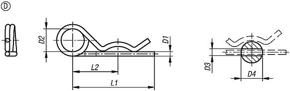 R-clips similar to DIN 11024, Form D, double coil