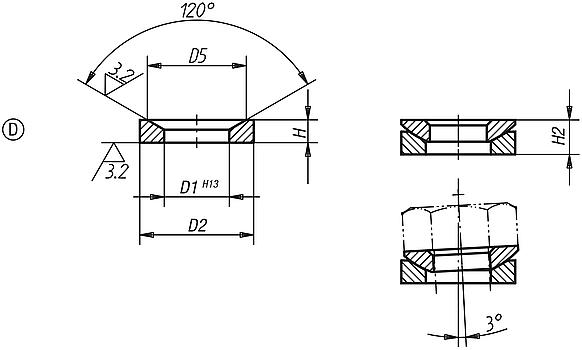 Conical seats Form D DIN 6319, edition 10/01