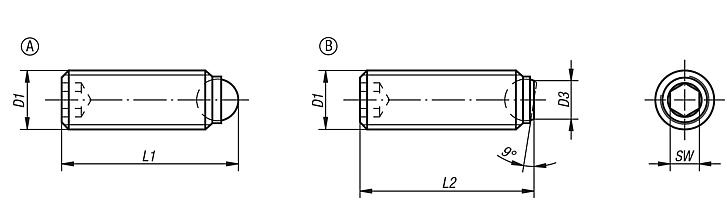 Ball-end thrust screws without headwith fine thread