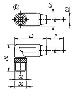 Connectors with screw fitting, Form D