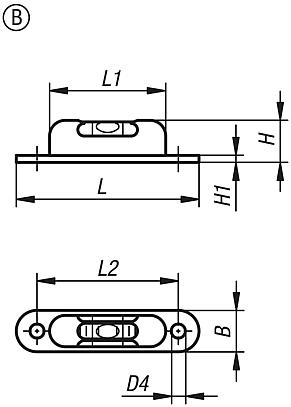 Tubular bubble levels with frame to screw on, Form B, three sight glasses