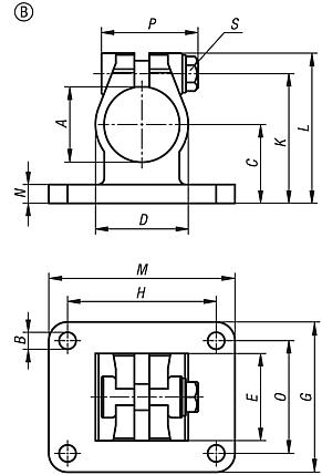 Tube clamps flange, stainless steel, Form B