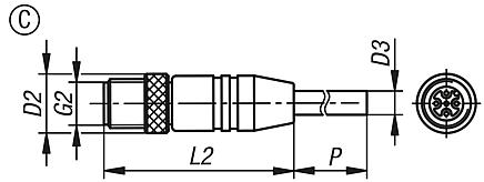 Connectors with screw fitting, Form C