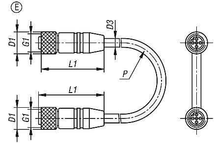 Connectors with screw fitting, Form E