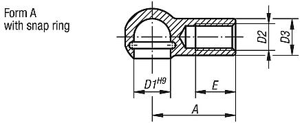 Ball seats for angle joints DIN 71805, Form A