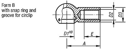 Ball seats for angle joints DIN 71805, Form B