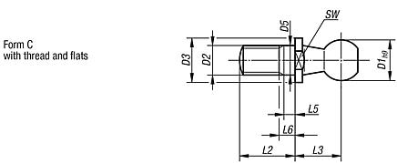 Ball studs for ball joints DIN 71803, Form C