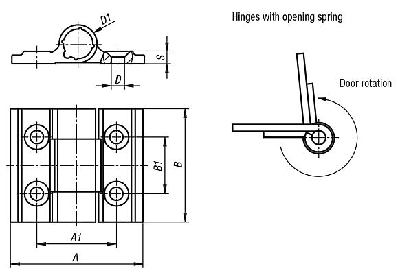 Spring hinges aluminium profile, 0.2 Nm, spring open