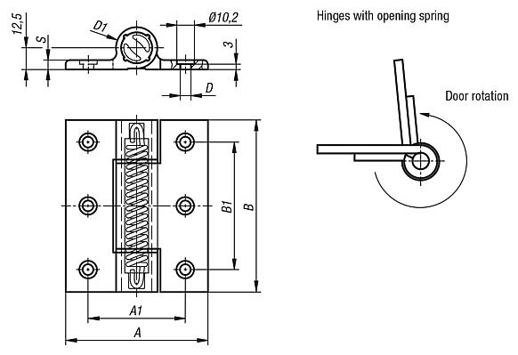 Spring hinges aluminium profile, 3.8 Nm, spring open