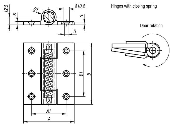 Spring hinges aluminium profile, 3.8 Nm, spring closed