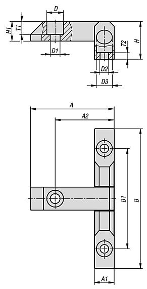 Block hinges with counterbore, long version