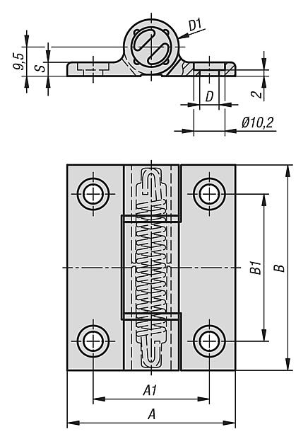 Spring hinges aluminium profile, 1.3 Nm, spring open