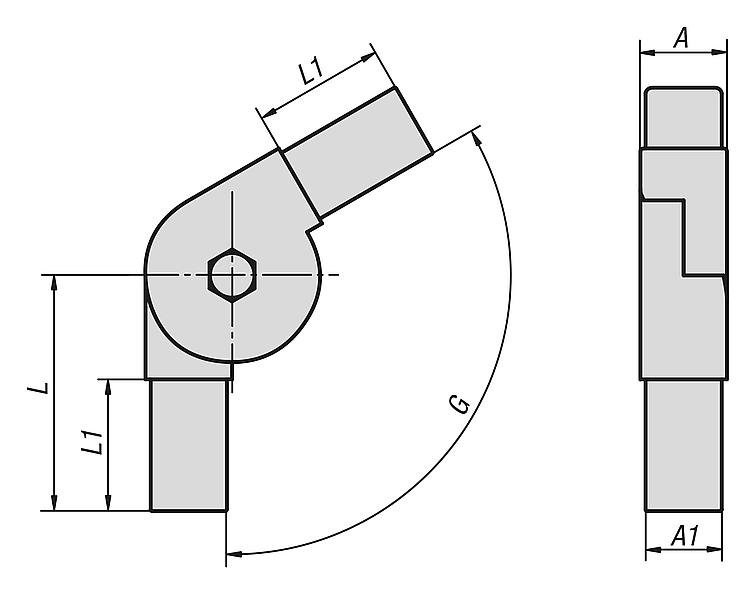 KIPP - Square tube connectors plastic two-way swivel
