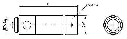 Extension shafts with union nut