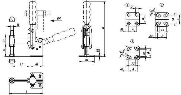 Toggle clamps vertical with flat foot and fixed clamping spindle
