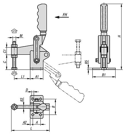 Toggle clamps vertical heavy-duty with fixed clamping spindle