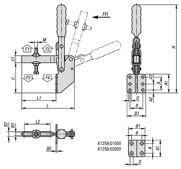 Toggle clamps vertical with angled foot and adjustable clamping spindle