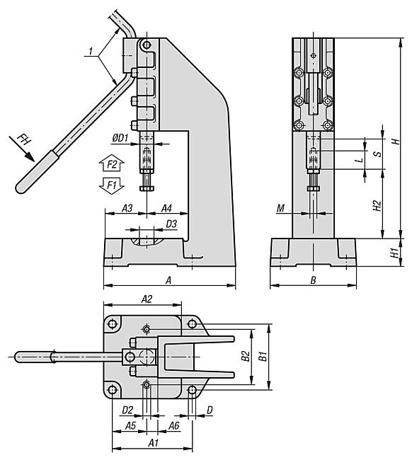 Toggle press, manual version