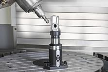 KIPP basic module with collet adapter mounted directly on a machine table with T-slots